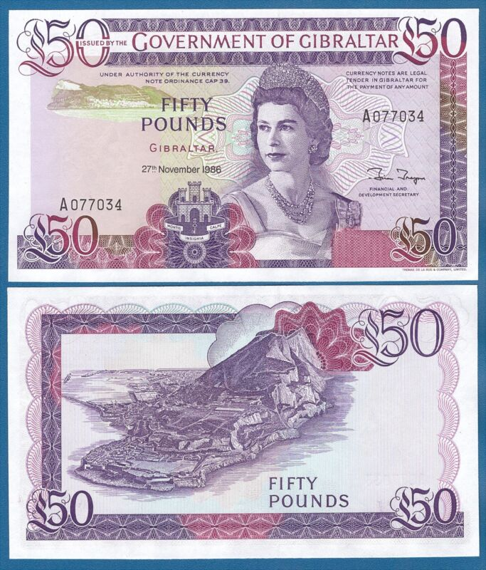 Gibraltar 50 Pounds 1986 P 24 UNC Low Shipping! Combine FREE!