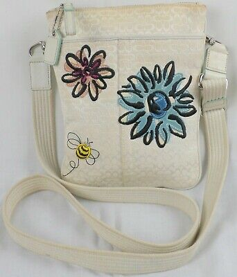 Coach F10872 White Floral Bumble Bee Signature Logo Purse Crossbody Shoulder Bag