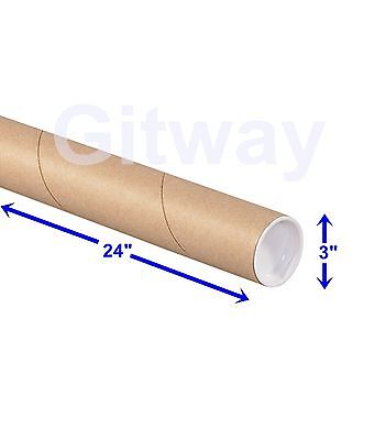 3 X 24 Cardboard Poster Shipping Mail Packing Postal Tube 24 Tubes With Caps