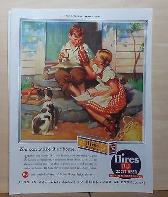 1937 magazine ad for Hires Root Beer - Make it at home, children & dog enjoy - Dog Magazines For Kids