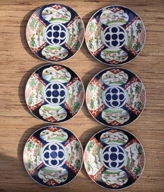 "Vintage Japanese Imari Handpainted Charger Plates 12"" Blue White Figural 6pc"