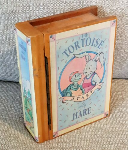 "Wooden Music Box VINTAGE Tortoise & Hare BOOK STYLE ""With A Little Bit of Luck"""