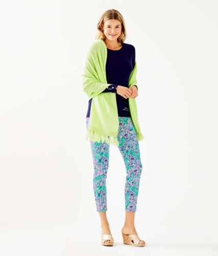 """NWT LILLY PULITZER CELERY TAKE ME AWAY CASHMERE WRAP WITH FRINGE 32/"""" X 70/"""""""