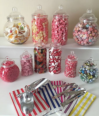 Plastic Victorian Style Sweet Jars for DIY Candy Buffet Wedding/Party LARGE KIT](Candy Jars For Candy Buffet)