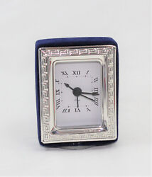 Watch With Alarm Clock Table Silver 925 And Velvet Blue