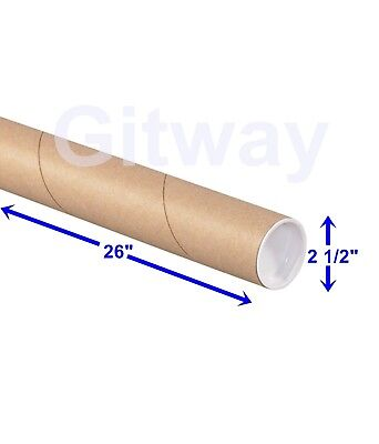 2 12 X 26 Cardboard Poster Blueprint Shipping Mailing Postal Tubes With Caps