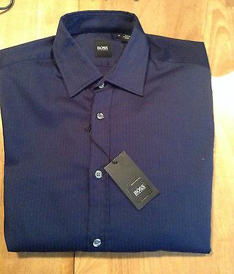 d4fc33c01 New HUGO BOSS Men's LEX Style Long Sleeve Shirt Navy Blue Cotton Size Large