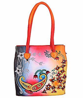India Shantiniketan Hand Painted Leather Handbag Shoulder Bag Purse Paisley
