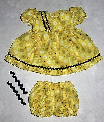 "Handmade Doll Clothes for 18"" - 20"" Baby Dolls - ""Dizzy Dots"" Flower Dress Set"