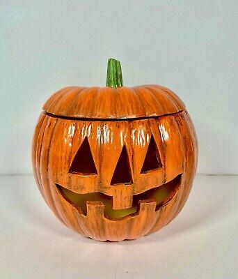 Vintage Halloween Spooky Hollow Ceramic Pumpkin Jack O Lantern Light Candle