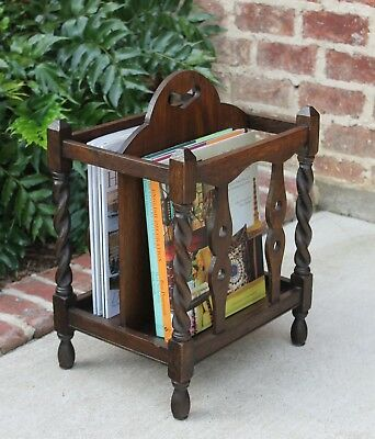 Antique English Oak Jacobean BARLEY TWIST Magazine Rack Book Stand Bookcase