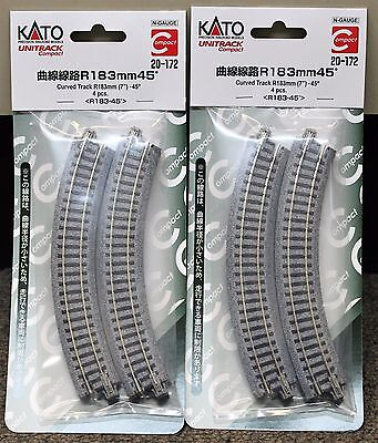 Scale Kato Unitrack Track Curved - LOT of 2 - N Scale KATO UNITRACK 20-172 Curved Track R183-45* 4 Pieces per Pack
