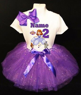 Sofia the First --With NAME-- 2nd Birthday Dress Purple Party Tutu Outfit - Sofia The First Birthday Outfit