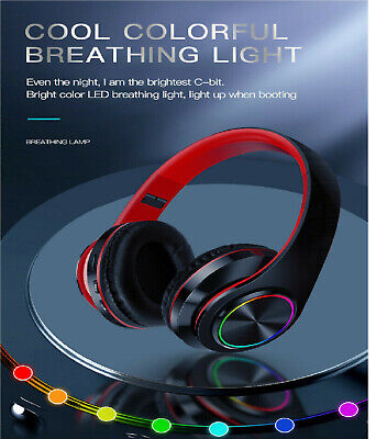 Wireless LED Gaming Bluetooth Headphones Foldable Stereo Earphones Headsets Mic