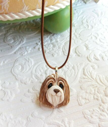 Brown Bearded Collie Necklace Clay by Raquel from theWRC OOAK dog jewelry