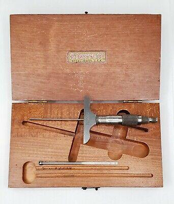 Vintage Starrett Depth Micrometer Depth Gauge Wooden Case Usa Made 2-12 Base