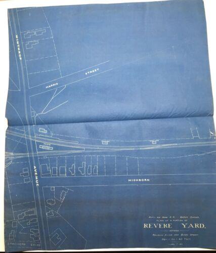 Antique Original 1899 Large Blueprint of Revere Yard, B&M Railroad, Mass.