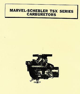 Marvel Schebler TSX Series Carburetors 4 John Deere & Ford Tractor Book Manual