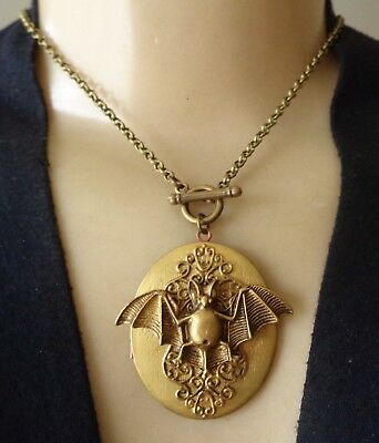 Nocturnal Vintage Necklace Huge Brass Bat Locket Pendant