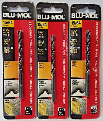 Blu Mol 15 64  Black Oxide High Speed Drill Bit 6636 3Pks