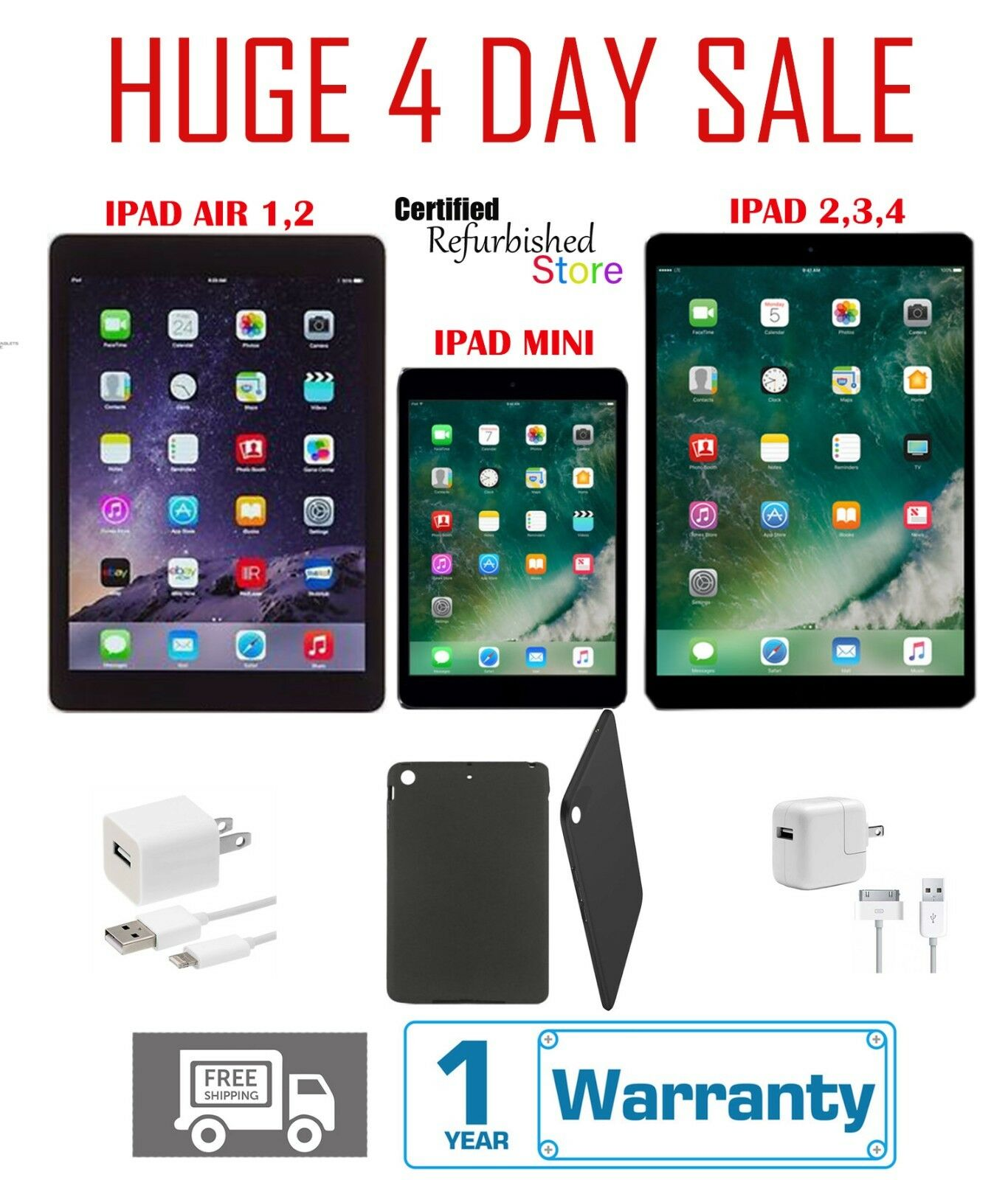 Apple iPad 2/3/4 Mini Air 16GB 32GB 64GB 128GB WiFi & Cellular Silver *** Bundle