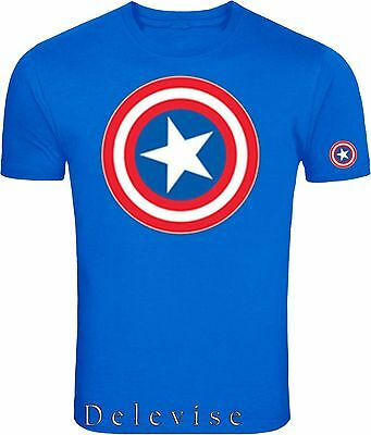 Captain America Distressed-Shield Logo Marvel Heros  Adult-Shirt S-4xl