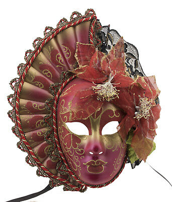 Mask Venice Volto Face Woman Fan Red Golden - 2063