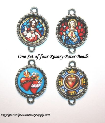 Sacred Heart | Our Father ROSARY Silver Image Bead Parts/Choice of 1 or a set!