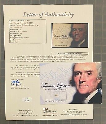 """President Thomas Jefferson Signed Cut Handwriting Autograph """" my """" JSA LOA"""