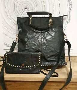 Black studded leather over the shoulder bag and matching purse