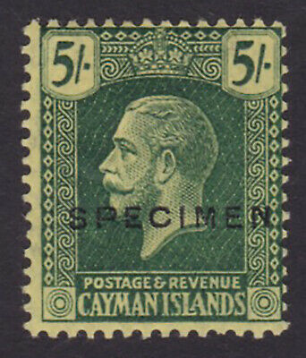 Cayman Islands. SG 82s, 5/- green/yellow, specimen. Fine mounted mint.