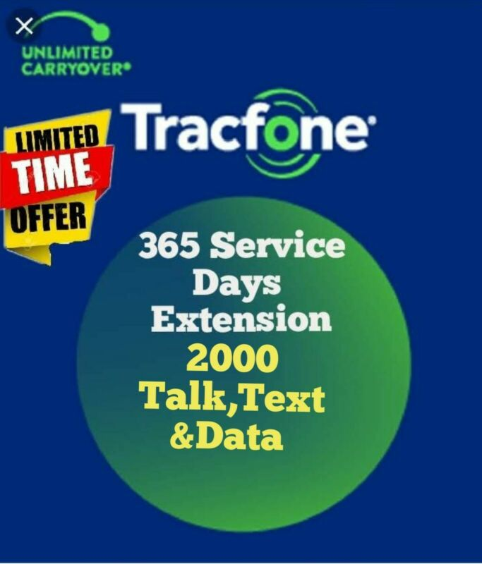 TracFone 1 Year Service + 2000 Minutes talk,text,data Refill for SmartPhone.