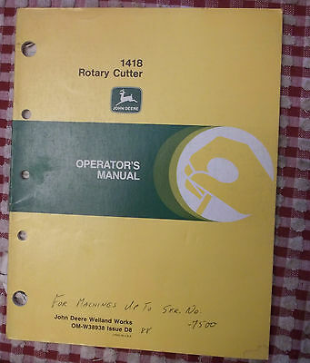 John Deere Operators Manual 1418 Rotary Cutter Om-w38938 Brush Hog Bush Owners