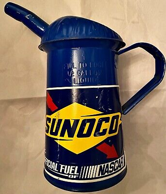 Vintage? Blue Nascar SUNOCO BATTERY FILLING WATERING CAN Repaintd, Decal AddedNR
