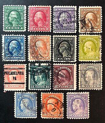 Scott 424-440 Used Set Perf 10 SL WM US Regular Issue 1913-1915
