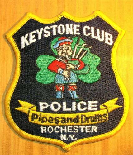 GEMSCO NOS Vintage Patch POLICE KEYSTONE CLUB - PIPES & DRUMS ROCHESTER NY