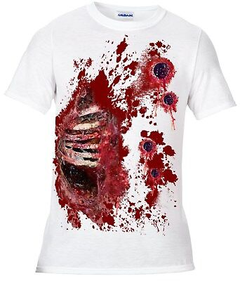 Halloween Zombie walking dead t shirt blood spatter Gunshot wound fancy dress - Gunshot Wound Halloween