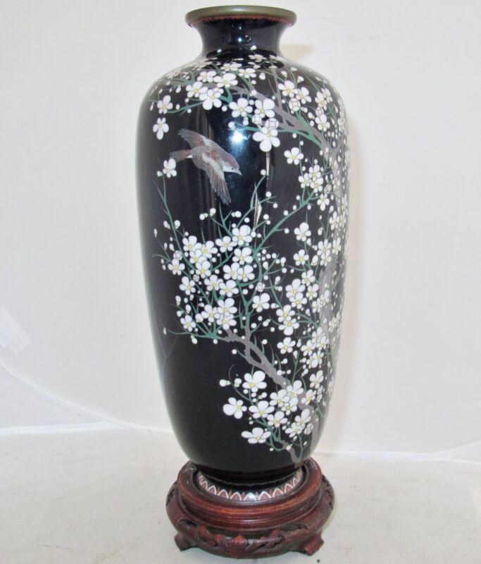 """HAYASHI ? Signed Antique Japanese Black Cloisonne Vase with Flowers & Bird 9.6"""""""