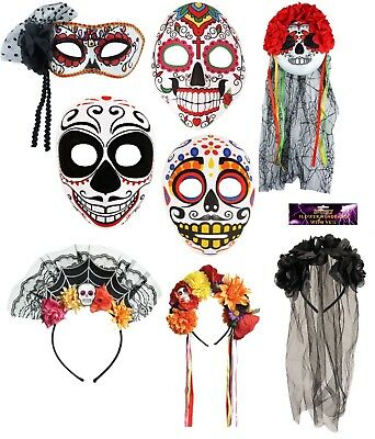Halloween Day Of The Dead Face,Eye Mask Mexican Dias Sugar Skull Half Mask - Half Sugar Skull Face Halloween