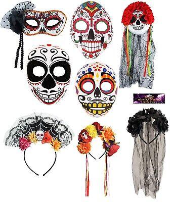 Halloween Day Of The Dead Face,Eye Mask Mexican Dias Sugar Skull Half Mask Veil - Half Sugar Skull Face Halloween