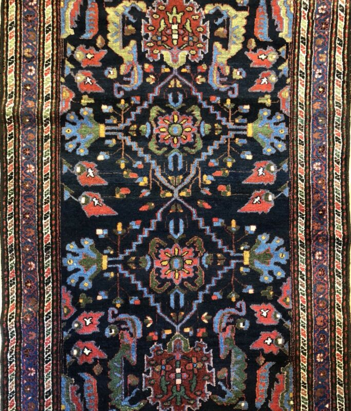 Handsome Hamadan - 1920s Antique Persian Rug - Tribal Carpet - 4.3 X 7.1 Ft.