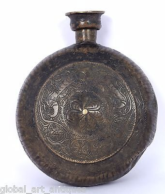 Indian Antique Handcrafted Brass Oil Pot Flask Collectible decorative. G7-717 US