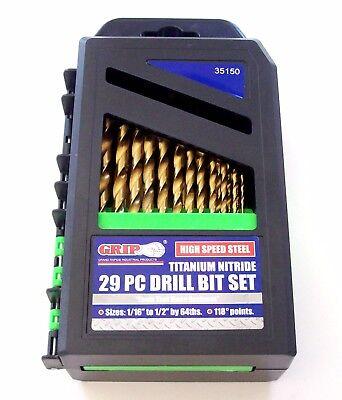 29pc GRIP TOOLS TITANIUM HIGH SPEED STEEL DRILL BIT SET HSS 1/16 - 1/2