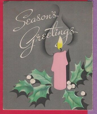 VTG MC CHRISTMAS CARD MOD ATTACHED BRIGHT PINK CANDLE HOLLY SILVER BACKGROUND ()