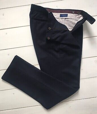 Incotex Mens Luxury Pure Wool Flannel Pleated Trousers Navy 46 30 Chino Slowear