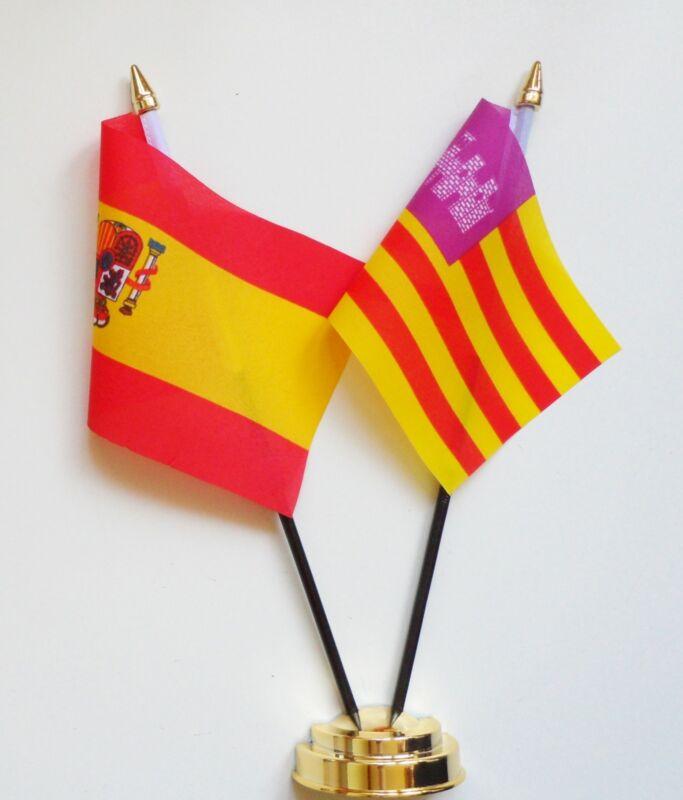 Spain State & Spain Balearic Islands Double Friendship Table Flag Set