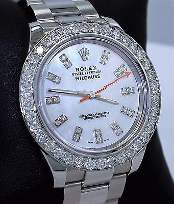 Rolex Milgauss 116400 Oyster MOP Dial 3.5CT Diamond Bezel *MINT CONDITION RARE*
