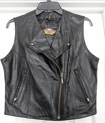 HARLEY-DAVIDSON Womens Leather Vest Biker Motorcycle Legend Zippers Lined NWOT