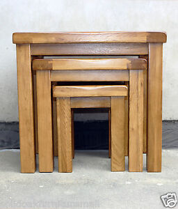 100% Original Rustic Solid Oak Nest of 3 Tables Coffee Table Nesting/Lamp Tables