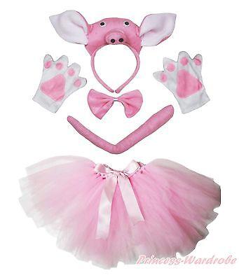 Teen Piglet Costume (3D Piggy Pig Piglet Headband Bow Tail Paw Gauze Skirt 5pc School Party)